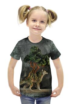 """Футболка с полной запечаткой для девочек """"Волк-бонсай Азарра"""" - авторские майки, дерево, животное, фантазия, волк"""