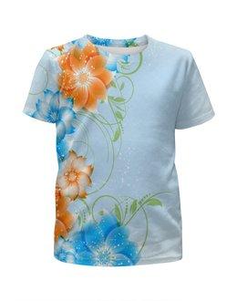 """Футболка с полной запечаткой для девочек """"Цветок"""" - цветы, весна, природа, цветные, пейзаж"""