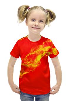 """Футболка с полной запечаткой для девочек """"FIRE!"""" - огонь, пламя, fire, сила, языки"""