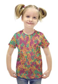 """Футболка с полной запечаткой для девочек """"Мультицвет Пиксельный Камуфляж"""" - армия, камуфляж, camouflage, военный, мультицвет пиксельный камуфляж"""