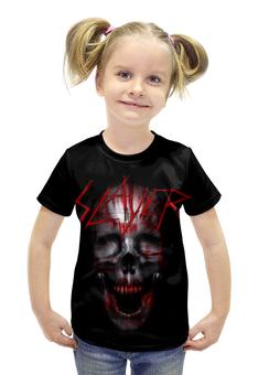 """Футболка с полной запечаткой для девочек """"Slayer Band"""" - skull, череп, рок музыка, slayer, thrash metal"""