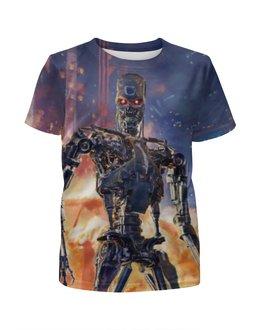 """Футболка с полной запечаткой для девочек """"Terminator"""" - робот, терминатор"""