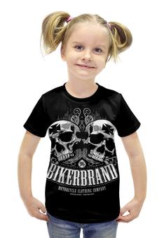 """Футболка с полной запечаткой для девочек """"Bikerbrand"""" - skull, череп, мотоцикл, bike, bikebrand"""