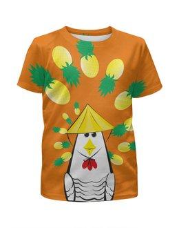 """Футболка с полной запечаткой для девочек """"Курица с ананасом"""" - шляпа, ананас, курица, азиатский вкус"""
