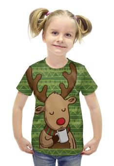 """Футболка с полной запечаткой для девочек """"Олень с кофе"""" - подарок, олень, deer, merry christmas, новогодний подарок"""
