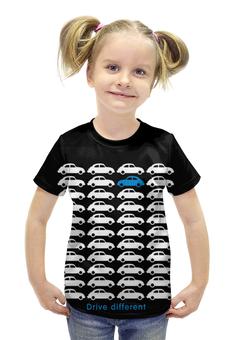 """Футболка с полной запечаткой для девочек """"Машинки"""" - абстракция"""