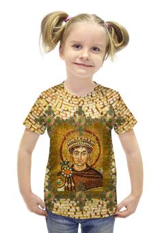 """Футболка с полной запечаткой для девочек """"Византия G1"""" - авторские майки, стильно, икона, фреска, мазаика"""