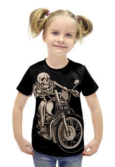 """Футболка с полной запечаткой для девочек """"Skeleton Biker"""" - skeleton, скелет, мотоцикл, байкер, biker"""