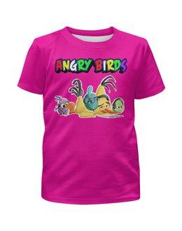"""Футболка с полной запечаткой для девочек """"Энгри Бердз"""" - птицы, птички, мульт, angry birds, энгри бёрдз"""