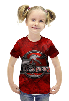 "Футболка с полной запечаткой для девочек ""Jurassic Park"" - кино, фантастика, приключения, jurassic park, стивен спилберг"