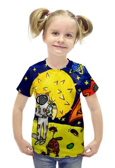 """Футболка с полной запечаткой для девочек """"Дети мечтают о космосе"""" - звезды, луна, комос"""