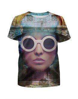 """Футболка с полной запечаткой для девочек """"Венеция"""" - девушка, италия, очки, венеция, фотошоп"""