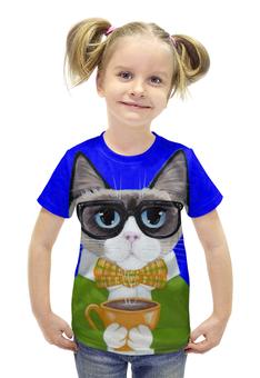 """Футболка с полной запечаткой для девочек """"СТИЛЬНЫЙ КОТ!!!"""" - кот, чашка, cat, чай, кофе"""