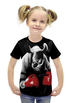"""Футболка с полной запечаткой для девочек """"Носорог Боксёр"""" - спорт, бокс, носорог"""