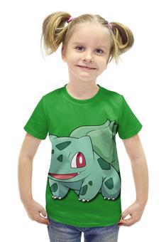 """Футболка с полной запечаткой для девочек """"Бульбазавр"""" - нинтендо, nintendo, bulbasaur, pokemon go, покемон го"""