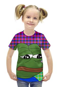 """Футболка с полной запечаткой для девочек """"SAD FROG"""" - юмор, мем, мульт, грустная лягушка, sad frog"""