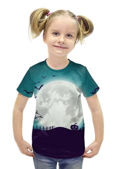 """Футболка с полной запечаткой для девочек """"Ночь всех святых"""" - праздник, хэллоуин, луна, тыква, необычная"""