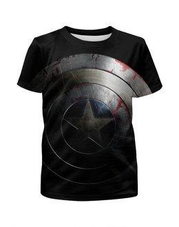 """Футболка с полной запечаткой для девочек """"Щит Америки"""" - комиксы, капитан америка, captain america, мститель"""