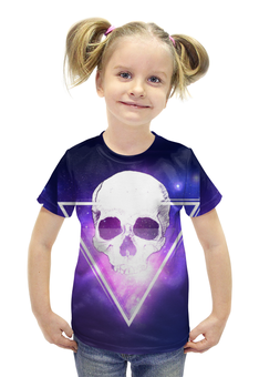 """Футболка с полной запечаткой для девочек """"Череп и треугольник"""" - череп, арт, треугольник"""