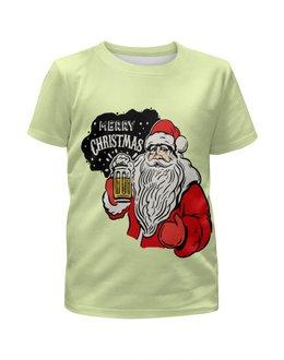 """Футболка с полной запечаткой для девочек """"Merry Christmas"""" - новый год, пиво, дед мороз, санта клаус, merry christmas"""