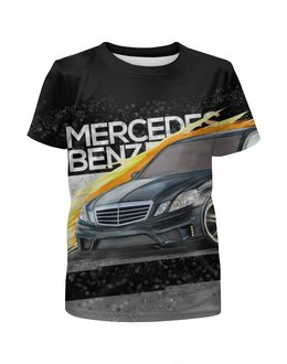 """Футболка с полной запечаткой для девочек """"Mercedes benz E-class"""" - авто, автомобиль, mercedes, amg, mb"""