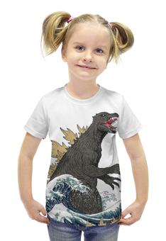 """Футболка с полной запечаткой для девочек """"Годзилла"""" - динозавр, годзилла, годзила"""