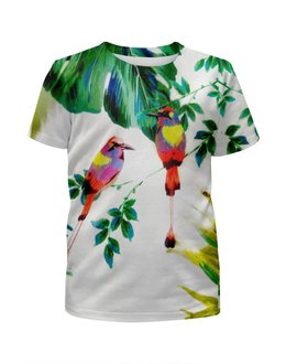 """Футболка с полной запечаткой для девочек """"попугаи"""" - цветы, листья, яркие, попугаи, тропики"""