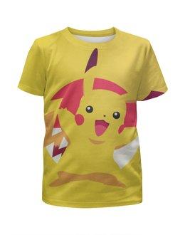 """Футболка с полной запечаткой для девочек """"Пикачу"""" - pokemon, покемон, пикачу, go, pikachu"""