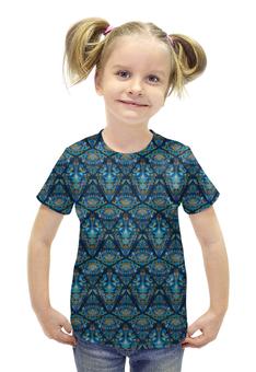 """Футболка с полной запечаткой для девочек """"Орнаментальный узор синий"""" - узор, орнамент, стильный, модный, этнический"""