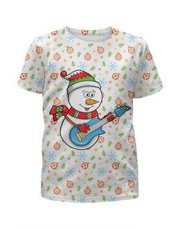 """Футболка с полной запечаткой для девочек """"Снеговик с гитарой (новый год)"""" - новый год, снежинки, снеговик, ёлочки, шары"""