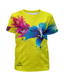 """Футболка с полной запечаткой для девочек """"Цветы"""" - цветы, рисунок, print, koleda17, футболкаспринтом"""