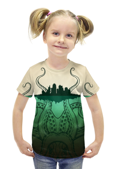 """Футболка с полной запечаткой для девочек """"Зелено-белое морское чудовище из глубин"""" - морское чудовище, запечатка, эпично"""