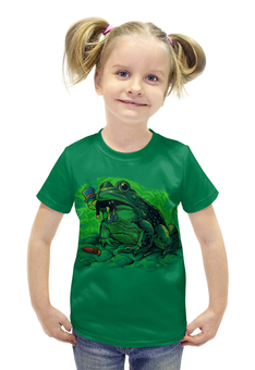 """Футболка с полной запечаткой для девочек """"Жаба с кузнечиком"""" - прикол, юмор, насекомые, жаба, кузнечик"""