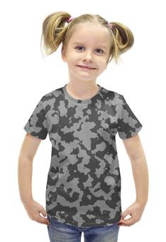 """Футболка с полной запечаткой для девочек """"Тёмно-Серый Камуфляж"""" - армия, камуфляж, camouflage, военный, тёмно серый камуфляж"""