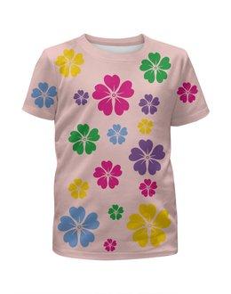"""Футболка с полной запечаткой для девочек """"в цветочках"""" - купить, с цветами, для девочки, футболку, розовую"""