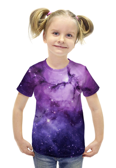 """Футболка с полной запечаткой для девочек """"Космос 3D"""" - space, звезды, космос, галактика, ночное небо"""
