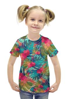 """Футболка с полной запечаткой для девочек """"Джунгли"""" - цветы, лес, растения, акварель, джунгли"""