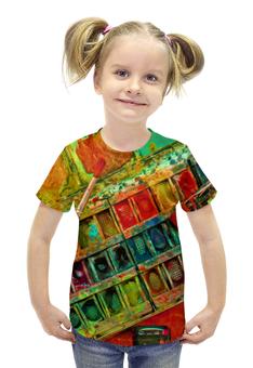 """Футболка с полной запечаткой для девочек """"""""Акварельные краски"""""""" - искусство, разноцветный, акварель, художник, пестрый"""