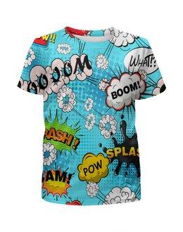 """Футболка с полной запечаткой для девочек """"Boom Bang"""" - поп арт, надписи, boom, bang, pop art"""