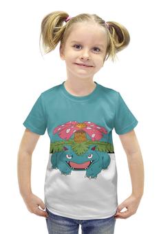 """Футболка с полной запечаткой для девочек """"Венузавр"""" - авторские майки, игра, pokemon, покемон, венузавр"""