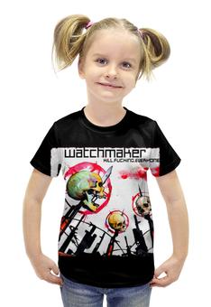 """Футболка с полной запечаткой для девочек """"Watchmaker band"""" - skull, череп, рок музыка, рок группа, watchmaker"""
