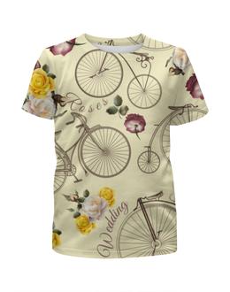 """Футболка с полной запечаткой для девочек """"Велосипед"""" - велосипед, спорт, розы"""