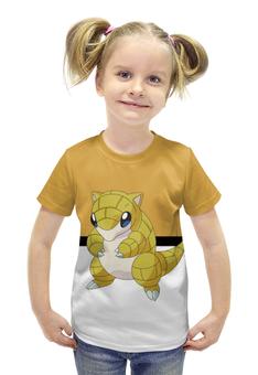 """Футболка с полной запечаткой для девочек """"Покемон Сэндшру"""" - мышь, pokemon, покемон, sandshrew, сэндшру"""