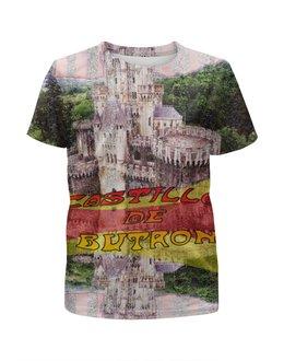 """Футболка с полной запечаткой для девочек """"Замки Испании. Замок Бутрон."""" - желтый, испания, замок, полоски, крепость"""