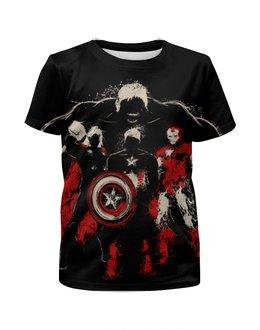 """Футболка с полной запечаткой для девочек """"Супергерои"""" - супергерои, железный человек, iron man, капитан америка, халк"""