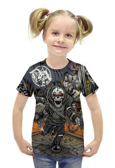 """Футболка с полной запечаткой для девочек """"Скелет в цепях"""" - череп, скелет, рок и метал"""