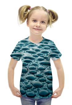 """Футболка с полной запечаткой для девочек """"Капли 3D"""" - дождь, вода, 3d, капли"""