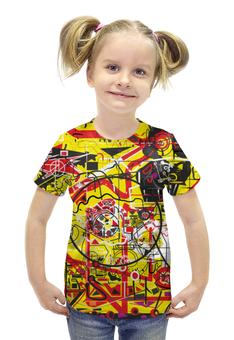"""Футболка с полной запечаткой для девочек """"Паутинка"""" - арт, узор, желтый, абстракция, фигуры"""