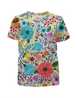 """Футболка с полной запечаткой для девочек """"Цветочки"""" - красиво, рисунок, природа, цветочки, веточки"""