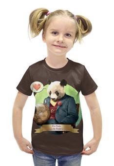 """Футболка с полной запечаткой для девочек """"Влюблённая панда"""" - панда"""